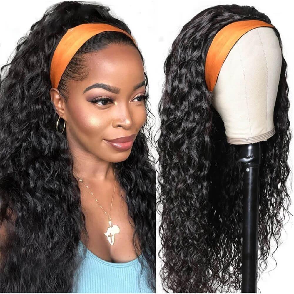 human hair headband wigs