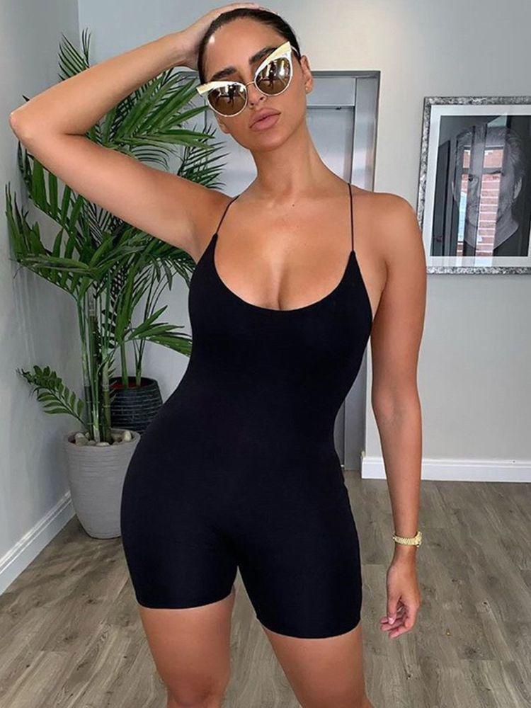 sexy slim suspender solid romper