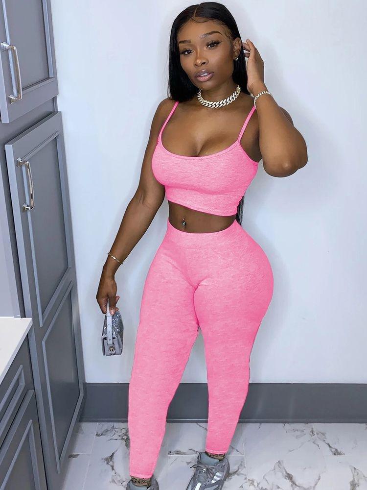 pink two piece pants set
