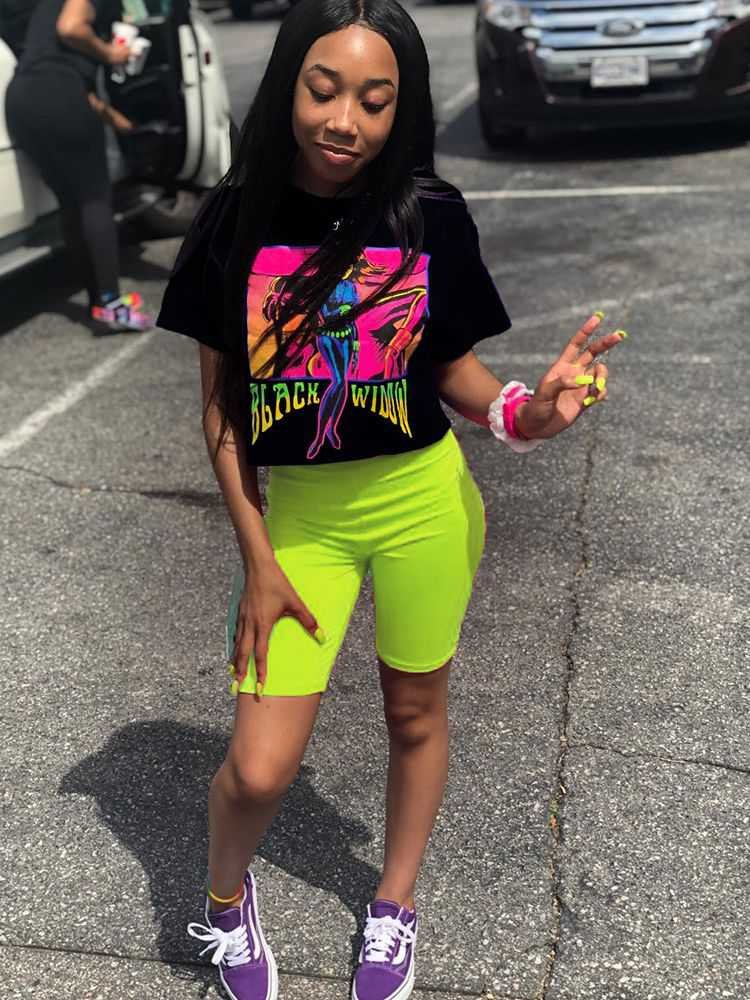 neon two piece shorts set