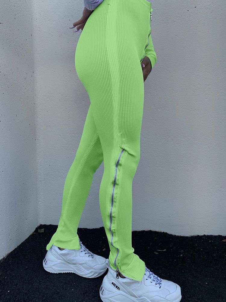 Leg Zipper Split Sports Pants