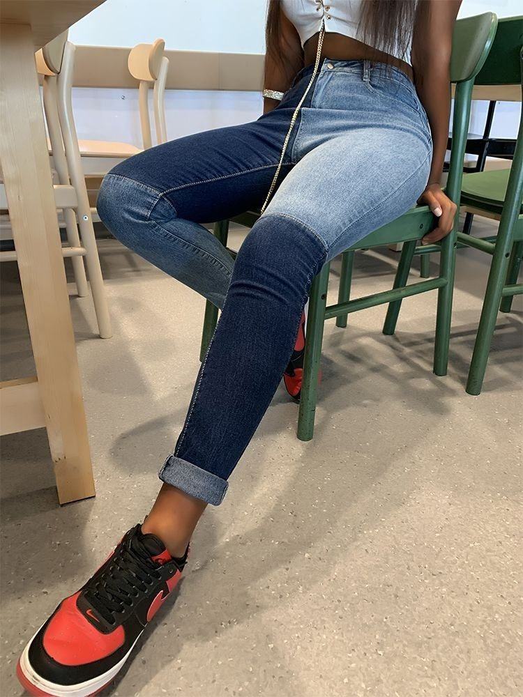 skinny patchwork jeans