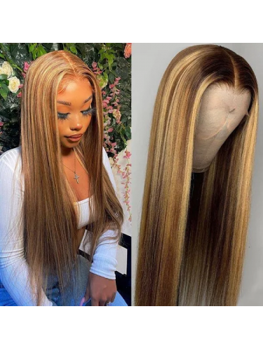 Honey Blond Ombre Highlight 13x4 Straight Lace Front Human Hair Wigs 150% Density