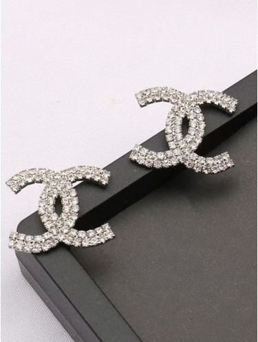 Double Letter C Rhinestone Flash Fashion Earrings