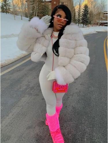 Jurllyshe Artificial Fox Fur Warm Lapel Splicing Long Sleeve Luxury Fashion Coat
