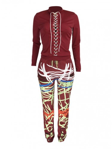 Jurllyshe Drawstring Long Sleeve Shirt With Contrast Line Bandage Print Pants Set