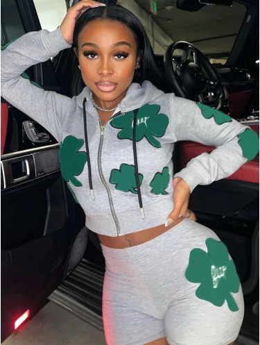 Jurllyshe Four-Leaf Clover Printed Zipper Hoodie Jackets With Sports Shorts Set
