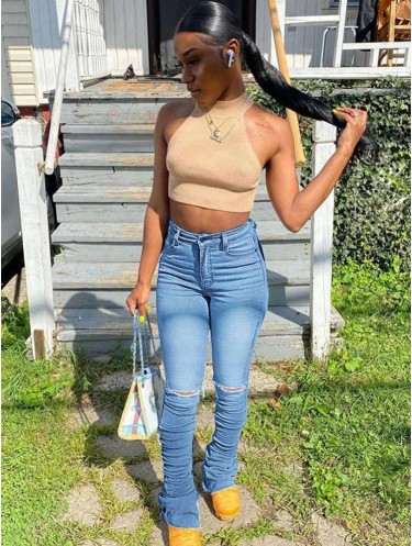 Jurllyshe Slim Ripped Stacked Fashion Denim Jeans
