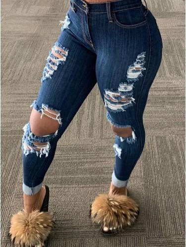 Jurllyshe Tattered Split Hole Fringed Tassel Street Fashionable Jeans Pants