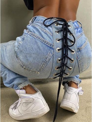 Jurllyshe Zipper Button Pockets With Two Colors Drawstring Fashion Jeans Denim Pants
