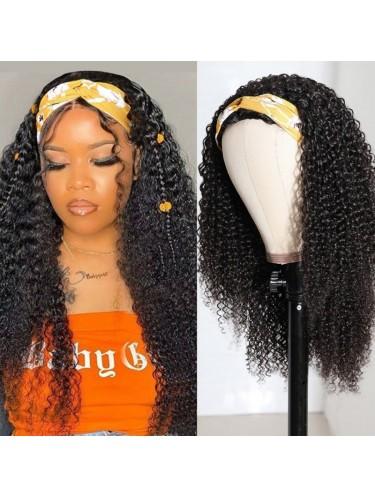 Kinky Curly Hair Half Wigs 150 Density Glueless Wigs Gift Headband