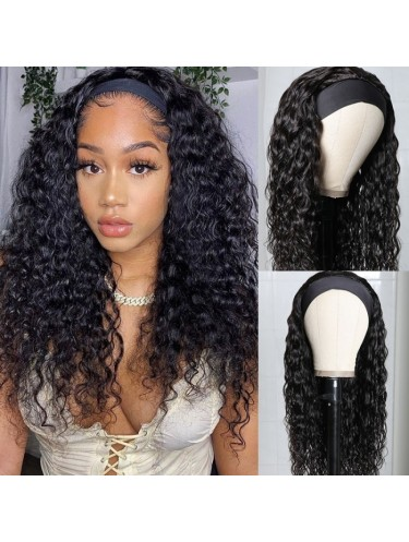 Water Wave Glueless Headband Human Hair Wigs With Pre-attached Scarf 200% Density