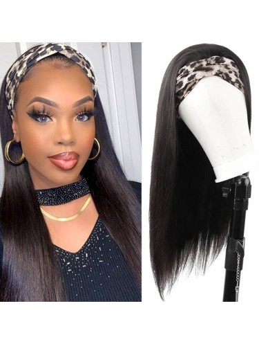 Straight Human Hair Headband Wigs Chic Style 150% Density