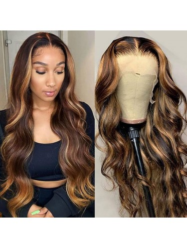 Highlight Ombre Body Wave Human Hair Wigs FB30 T Part Lace Wig 150% Density