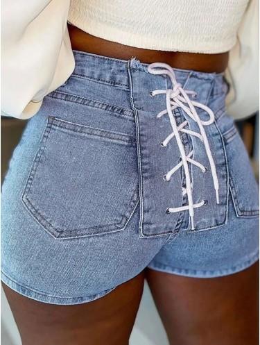 Jurllyshe Light Blue Buckle Back Bandage Stretchy Slim Denim Shorts
