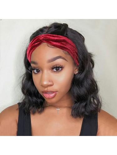 Short Bob Body Wave Wig Adjustable Human Hair Headband Wig