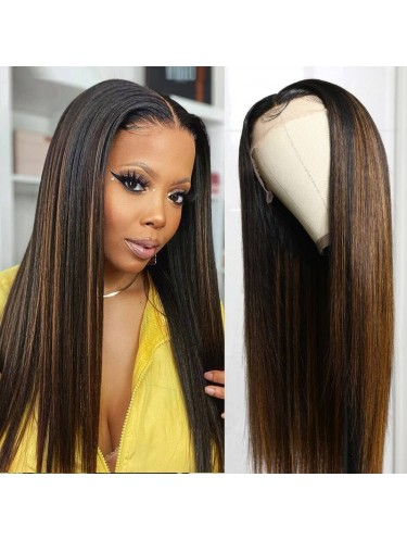 T Part Lace Wig #FB30 Highlight Straight Human Hair Wig