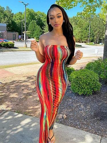 Jurllyshe Colorful Tie Dye Printed Sleeveless Maxi Slim Tube Bodycon Dress
