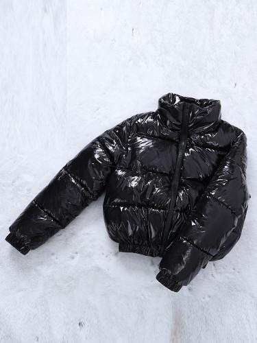 Jurllyshe Solid Color Long Sleeve Glossy Zipper Padded Coat