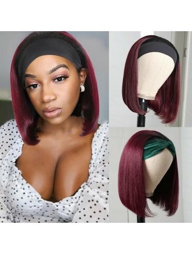 Jurllyshe Ombre T1B/99J Bob Straight Human Hair Headband Wigs