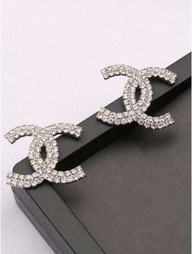 Double Letter C Rhinestone Flash Fashion Earrings
