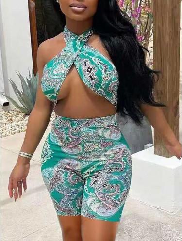Jurllyshe Bandana Print Crossover Sleeveless Cutout Sexy Rompers