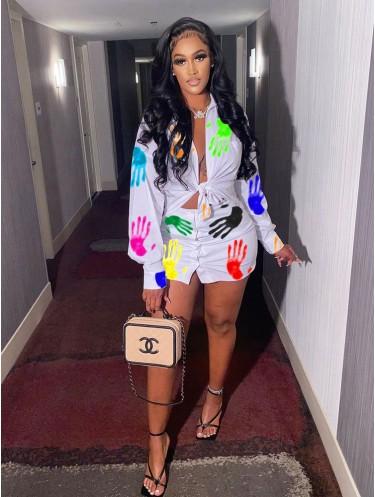 Jurllyshe Color Hands Print Lapel Tie Front Shirt With Button Fashion Skirt Set