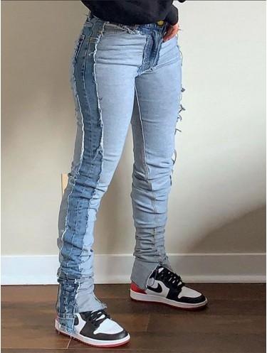 Jurllyshe Color Matching Side Spliced Split Leg Stacked Jeans