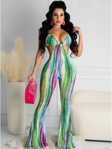 Jurllyshe Colorful Line Print Cut Out Sleeveless Sexy Flare Jumpsuit