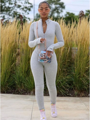 Jurllyshe Finger Sleeve Stand Collar Zipper Solid Sexy Tight High Waist Sports Jumpsuit