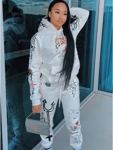 Jurllyshe Graffiti Printed Street Hooded Long Sleeve Pockets Top With Loose Pants Set