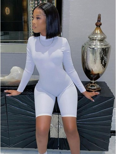 Jurllyshe High Collar Solid Color Long Sleeve Slim Sexy Rompers