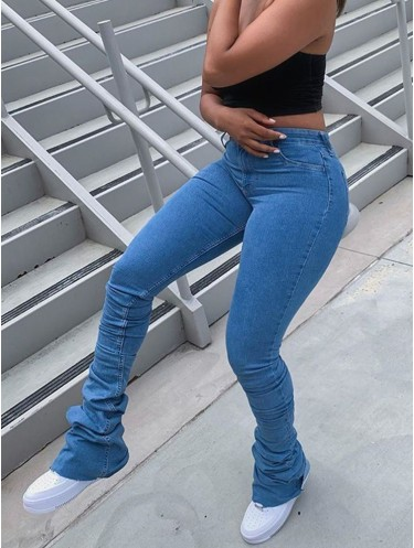 Jurllyshe High Waist Casual Pleated Stacked Jeans