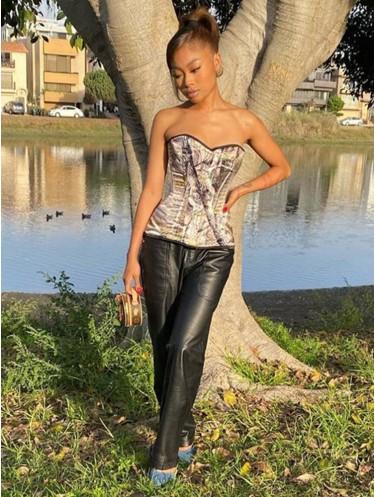 Jurllyshe Leaf Print Sleeveless Slim Fit Simple Casual Fashion Corset