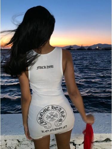 Jurllyshe Letter Print Sleeveless Slim Fashion Bodycon Dress