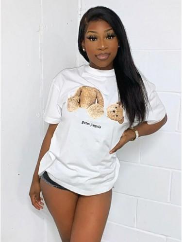Jurllyshe Palm Guillotine Bear Print Short Sleeve Round Neck Hip Hop Shirt