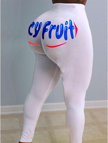 Jurllyshe Plus Size Sexy Solid Print Letter Leggings Pants