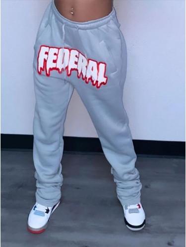 Jurllyshe Printed Street Hip Hop Plush Casual Sports Pants