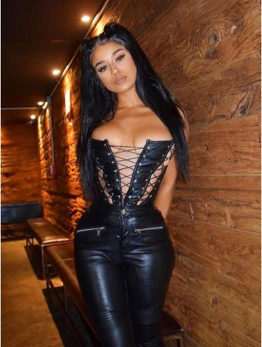 Jurllyshe Sexy Hollow Out Lace Up Fashion Solid Color Corset