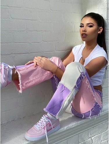 Jurllyshe Slim Straight High Waist Color Matching Jeans