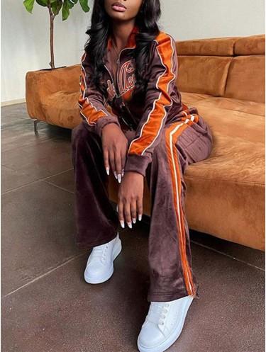 Jurllyshe Velvet Letter Embroidery Contrast Side Seam Zipper Crop Jacket With Pants Set Tracksuit