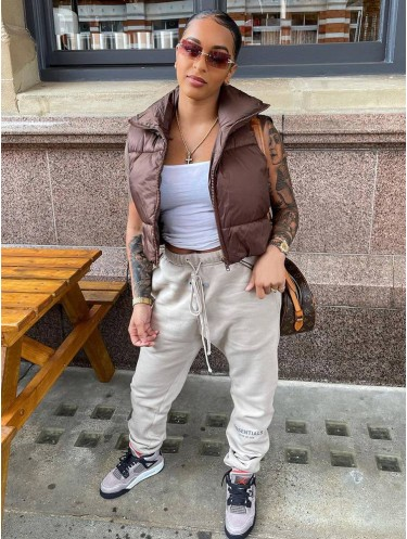 Jurllyshe Warm Drawstring Solid Sleeveless Short Puffer Vest