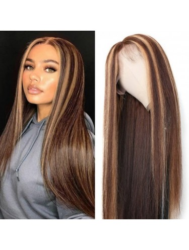 Jurllyshe 13x4 Straight Honey Blond Ombre Color Highlight 150% Lace Front Human Hair Wigs