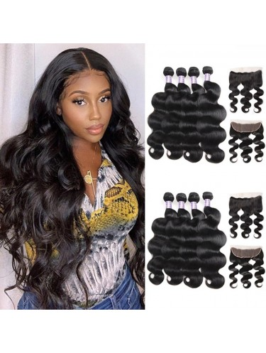 4 Bundles Body Wave Virgin Human Hair With 13*4 Ear To Ear Lace Frontal Closure