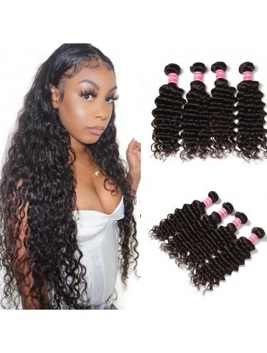 Jurllyshe 4 Bundles Deep Wave Virgin Human Hair Extension