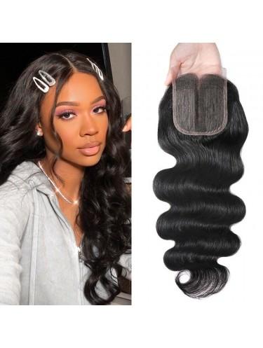 Body Wave Lace Closure Middle Part Human Hair 4x0.75 T Part Closure Natural Color