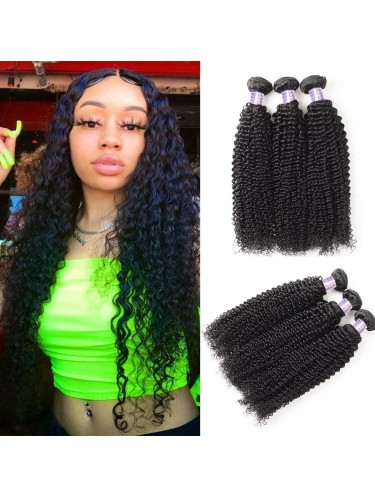 Hurela Series 3Pcs/Pack Jerry Curly Unprocessed Virgin Human Hair Weft Deals