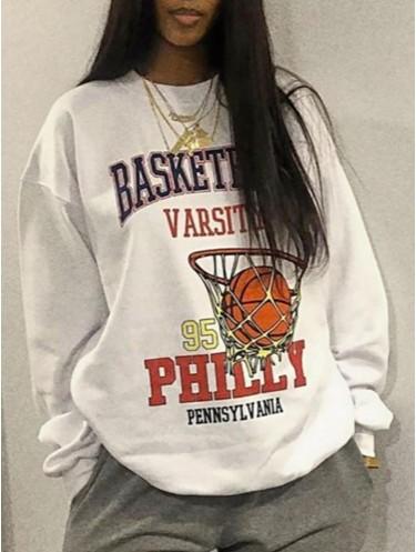 Jurllyshe Basketball Printed Round Neck Fashion Casual Sweatshirt