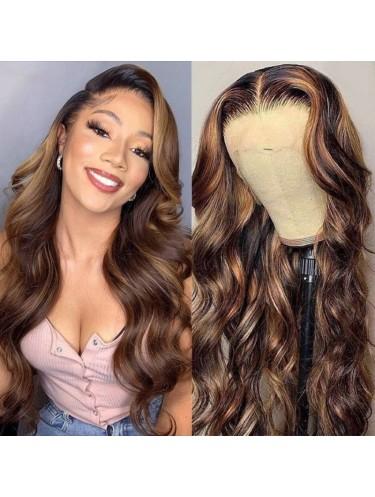 Jurllyshe Body Wave 13x4 Lace Front Wig Virgin Brazilian 100% Human Hair 150% Density