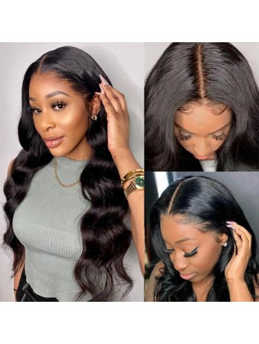Jurllyshe Body Wave Natural Black Fake Scalp Remi Hair Wigs Middle Part 150% Density